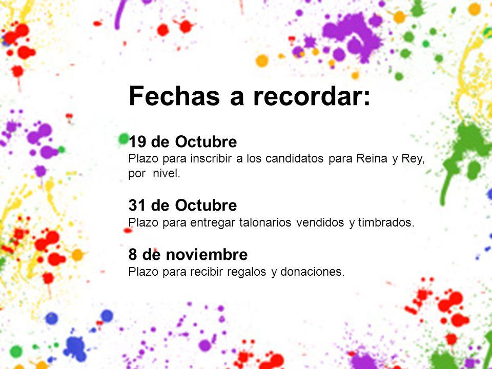 Fechas a recordar: 19 de Octubre Plazo para inscribir a los candidatos para Reina y Rey, por nivel.