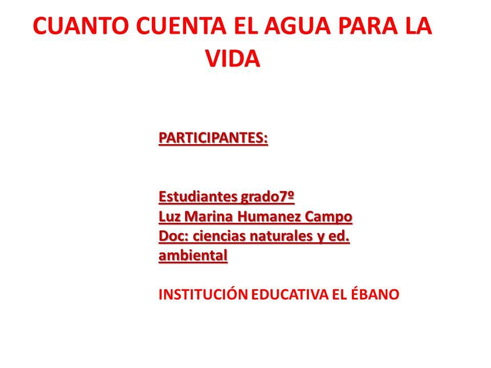 PARTICIPANTES: Estudiantes grado7º Luz Marina Humanez Campo Doc: ciencias naturales y ed.