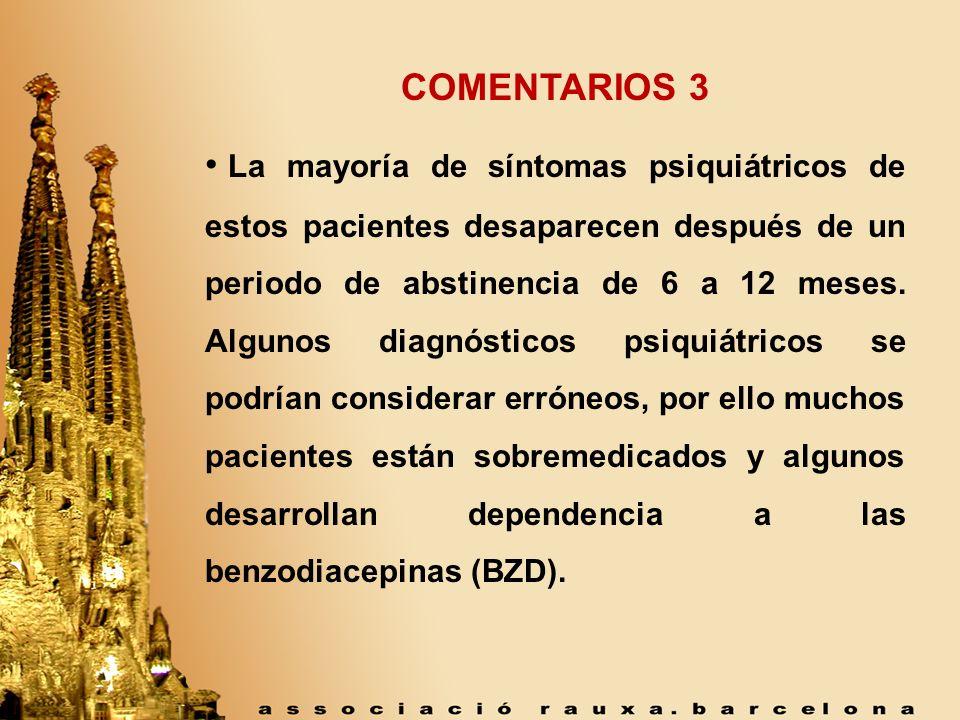 COMENTARIOS 3 La mayoría de síntomas psiquiátricos de estos pacientes desaparecen después de un periodo de abstinencia de 6 a 12 meses. Algunos diagnó