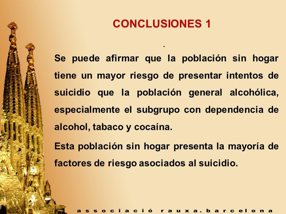 . CONCLUSIONES 1 Se puede afirmar que la población sin hogar tiene un mayor riesgo de presentar intentos de suicidio que la población general alcohóli