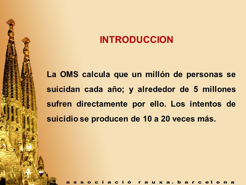 INTRODUCCION La OMS calcula que un millón de personas se suicidan cada año; y alrededor de 5 millones sufren directamente por ello. Los intentos de su