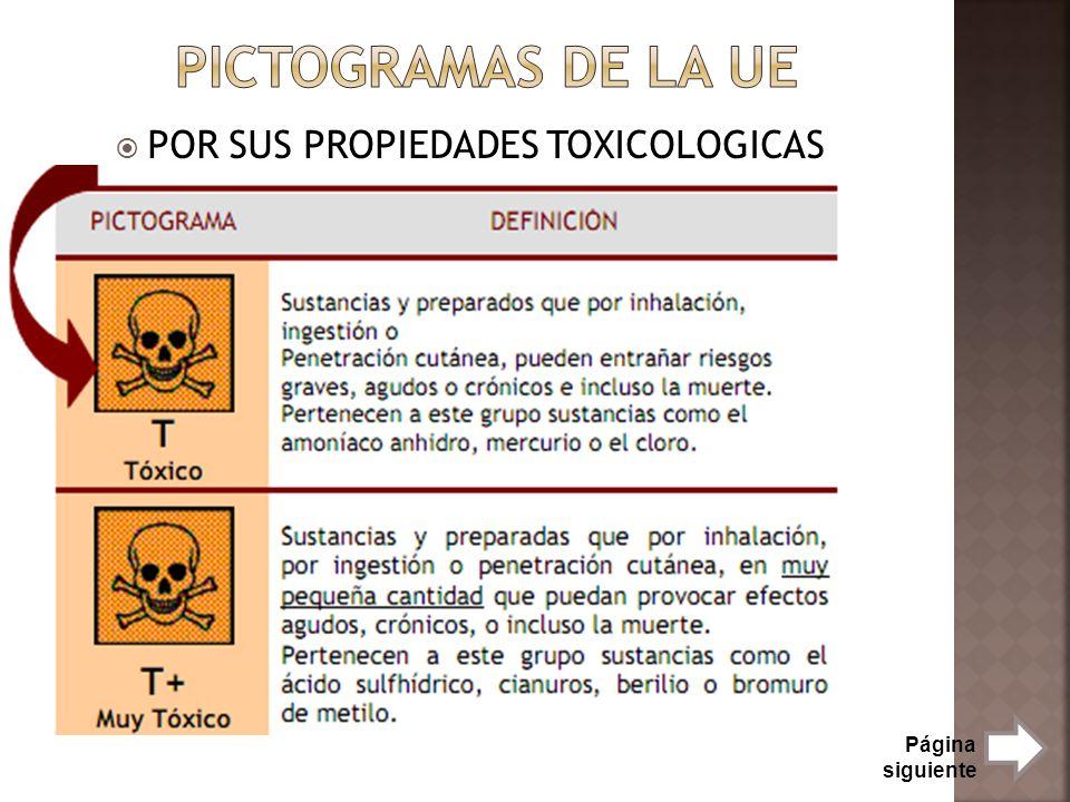 POR SUS PROPIEDADES TOXICOLOGICAS Página siguiente