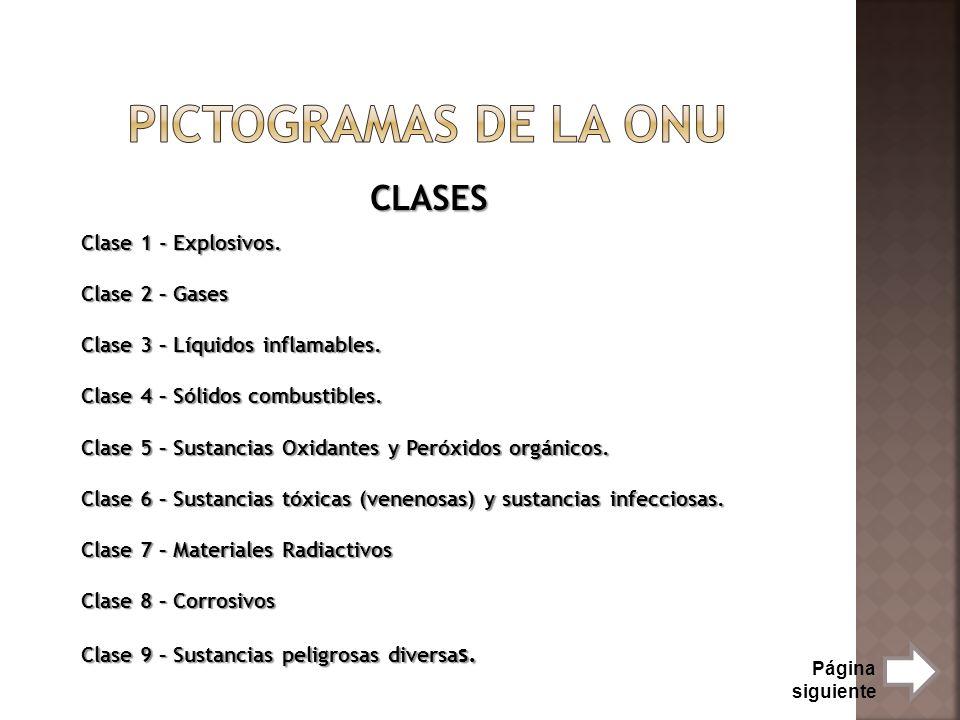 CLASES Clase 1 - Explosivos. Clase 2 – Gases Clase 3 – Líquidos inflamables. Clase 4 – Sólidos combustibles. Clase 5 – Sustancias Oxidantes y Peróxido