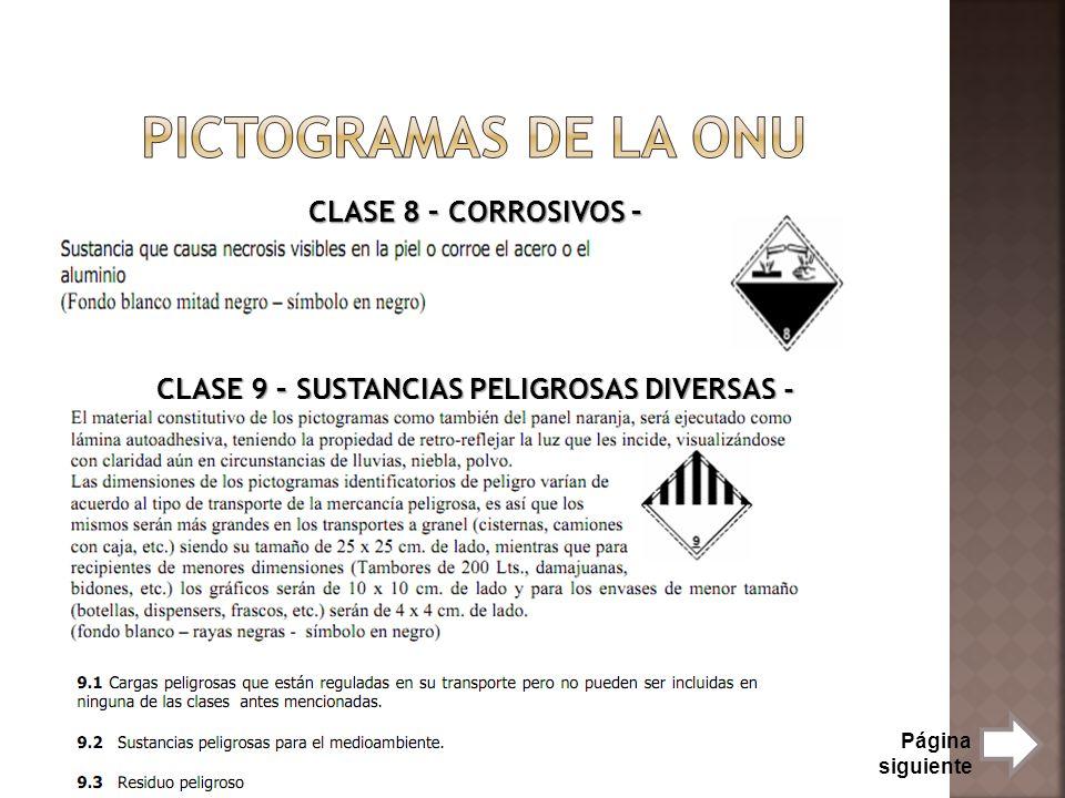 CLASE 8 – CORROSIVOS – CLASE 9 – SUSTANCIAS PELIGROSAS DIVERSAS - Página siguiente