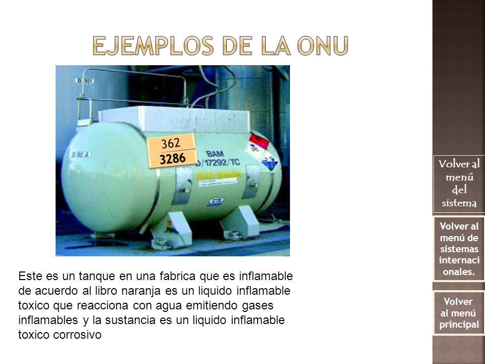 Este es un tanque en una fabrica que es inflamable de acuerdo al libro naranja es un liquido inflamable toxico que reacciona con agua emitiendo gases