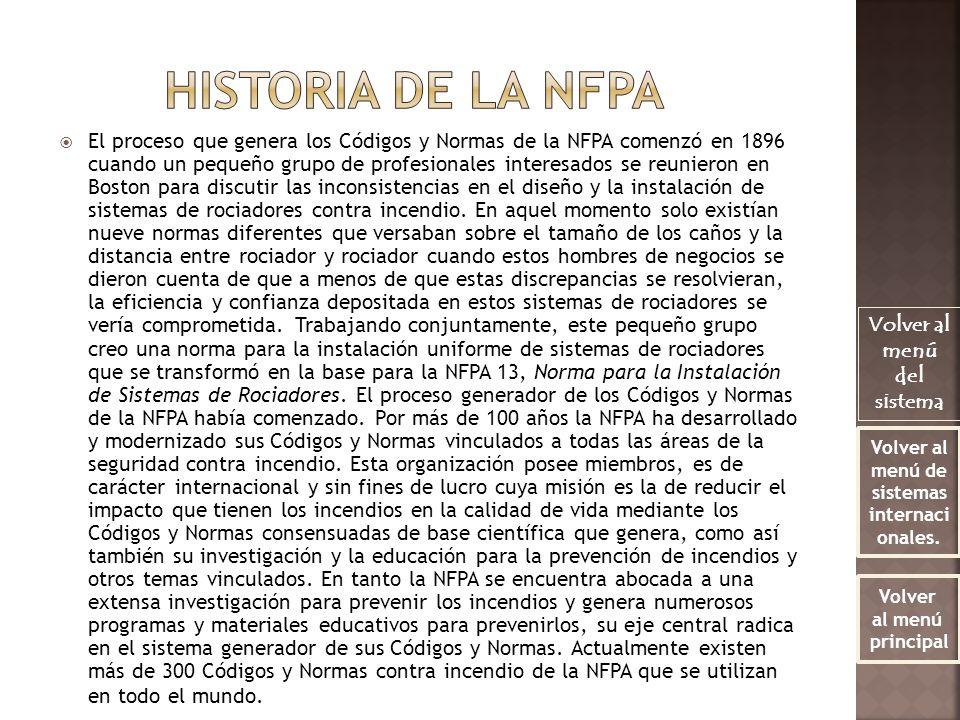 El proceso que genera los Códigos y Normas de la NFPA comenzó en 1896 cuando un pequeño grupo de profesionales interesados se reunieron en Boston para