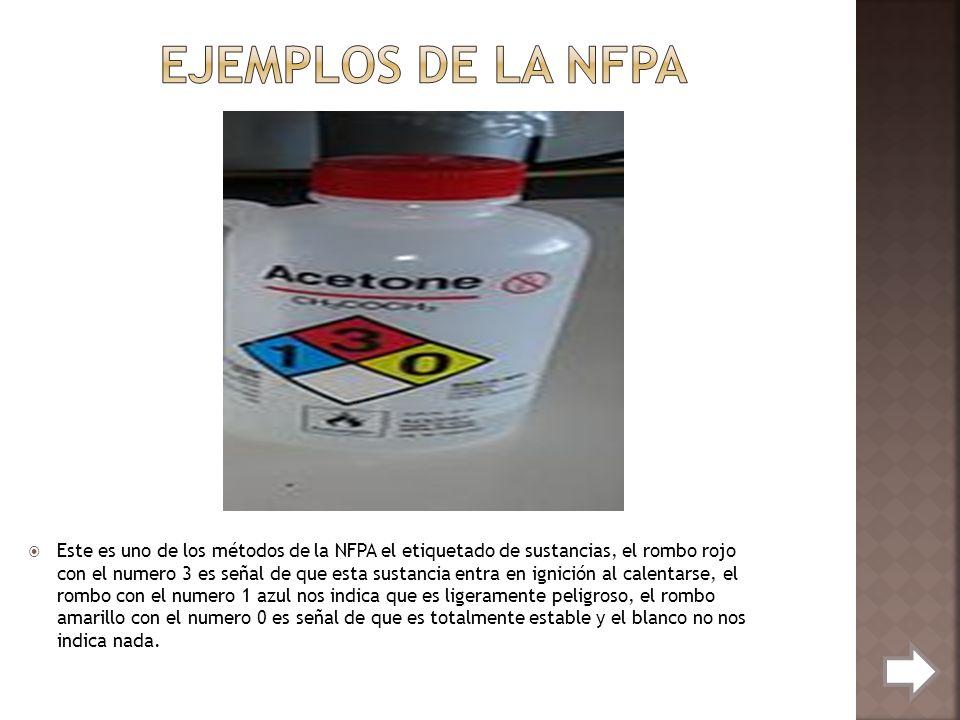 Este es uno de los métodos de la NFPA el etiquetado de sustancias, el rombo rojo con el numero 3 es señal de que esta sustancia entra en ignición al c