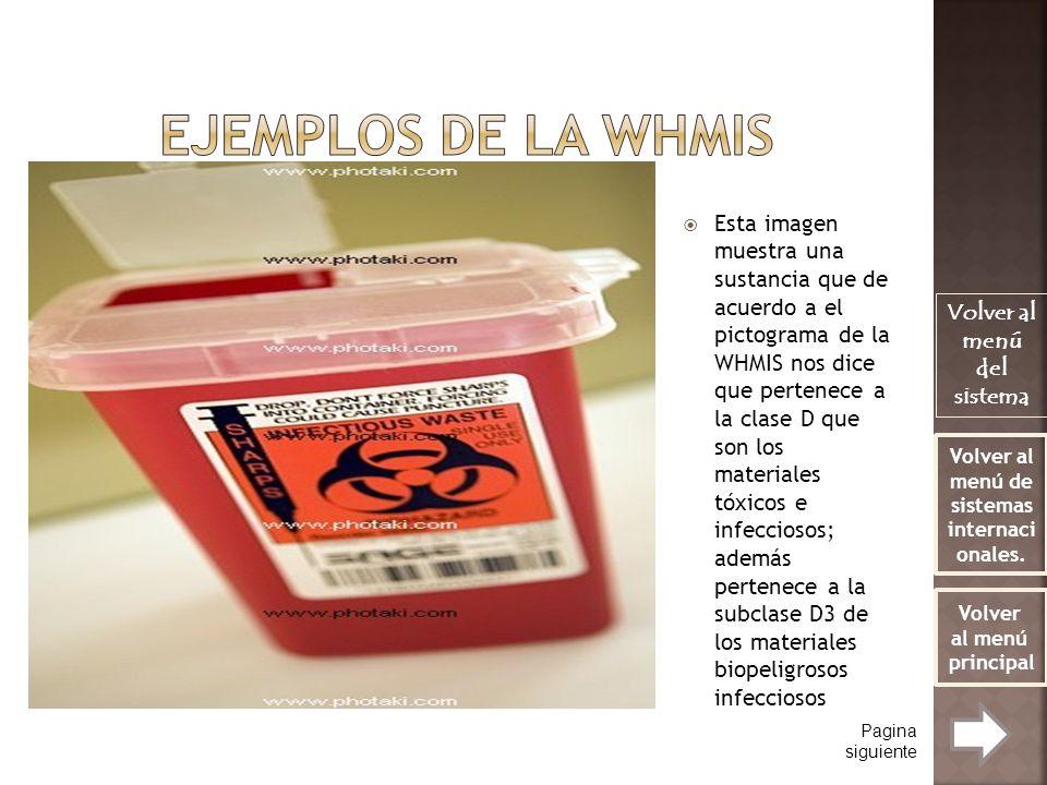 Esta imagen muestra una sustancia que de acuerdo a el pictograma de la WHMIS nos dice que pertenece a la clase D que son los materiales tóxicos e infe