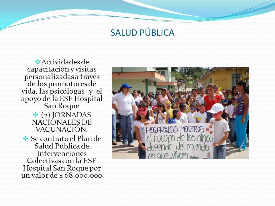 SALUD PÚBLICA Actividades de capacitación y visitas personalizadas a través de los promotores de vida, las psicólogas y el apoyo de la ESE Hospital Sa
