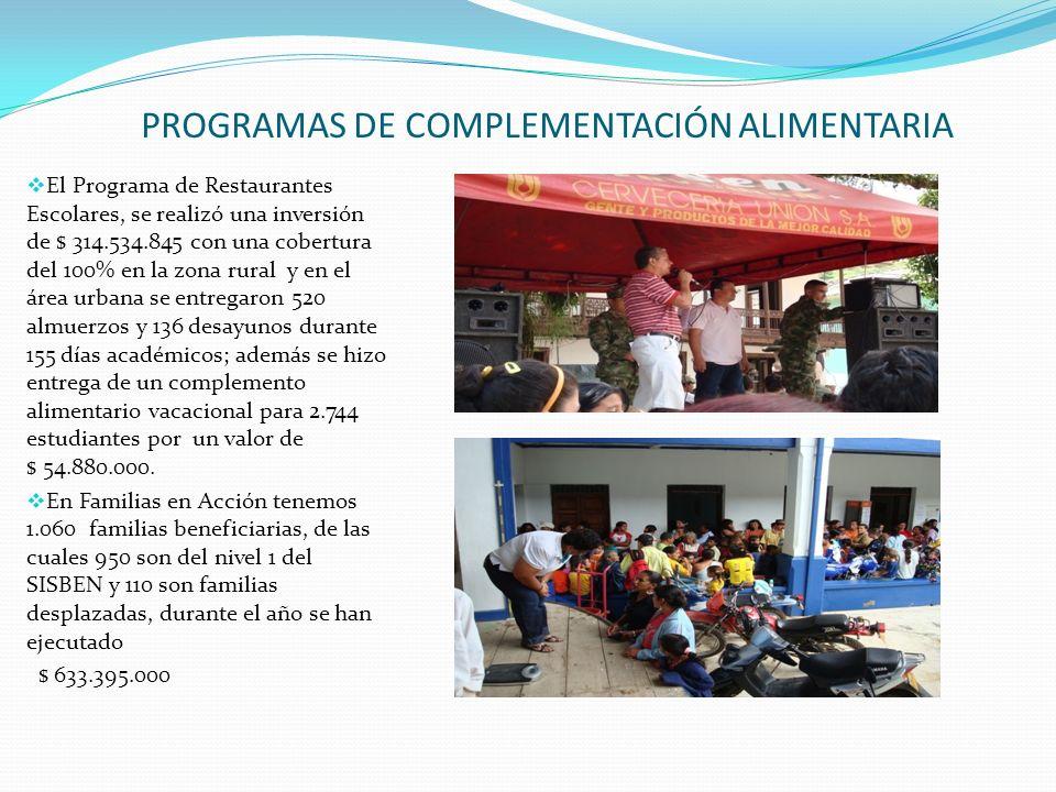 PROGRAMAS DE COMPLEMENTACIÓN ALIMENTARIA El Programa de Restaurantes Escolares, se realizó una inversión de $ 314.534.845 con una cobertura del 100% e