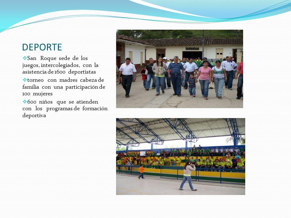 DEPORTE San Roque sede de los juegos, intercolegiados, con la asistencia de 1600 deportistas torneo con madres cabeza de familia con una participación
