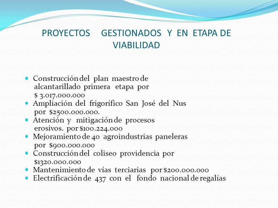 PROYECTOS GESTIONADOS Y EN ETAPA DE VIABILIDAD Construcción del plan maestro de alcantarillado primera etapa por $ 3.017.000.000 Ampliación del frigor