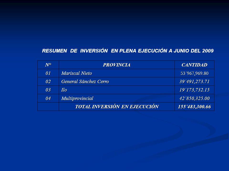 RESUMEN DE INVERSIÓN EN PLENA EJECUCIÓN A JUNIO DEL 2009 N°PROVINCIACANTIDAD 01 Mariscal Nieto 53´967,969.80 02 General Sánchez Cerro 39´491,273.71 03Ilo19´173,732.15 04Multiprovincial42´850,325.00 TOTAL INVERSIÓN EN EJECUCIÓN 155´483,300.66