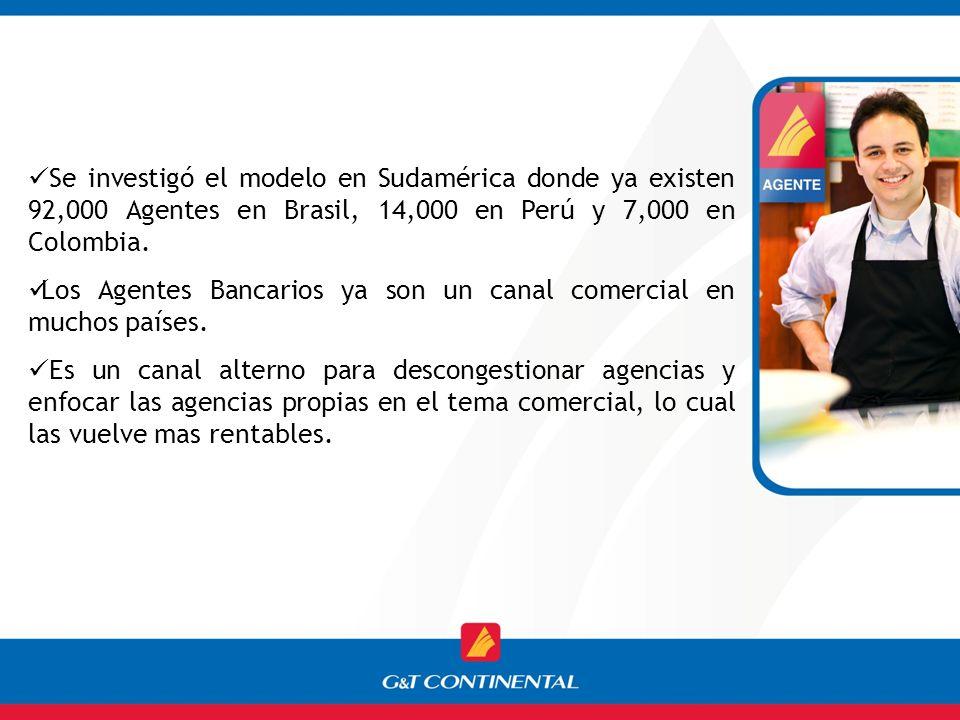 Se investigó el modelo en Sudamérica donde ya existen 92,000 Agentes en Brasil, 14,000 en Perú y 7,000 en Colombia. Los Agentes Bancarios ya son un ca