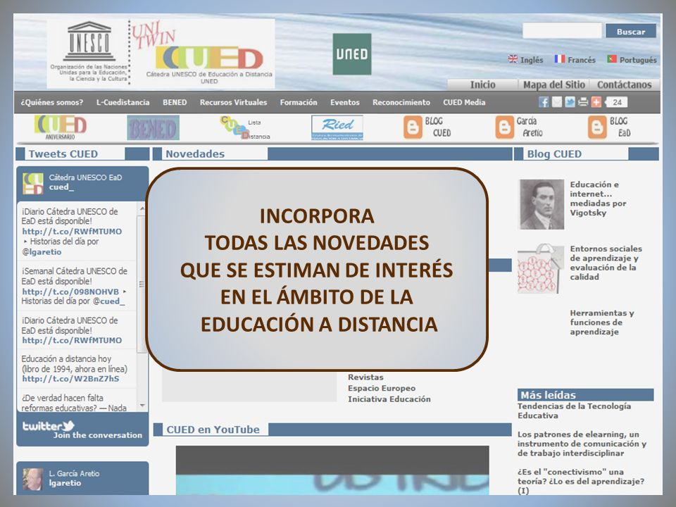 09/02/2012VI Encuentro de Cátedras UNESCO de España INCORPORA TODAS LAS NOVEDADES QUE SE ESTIMAN DE INTERÉS EN EL ÁMBITO DE LA EDUCACIÓN A DISTANCIA