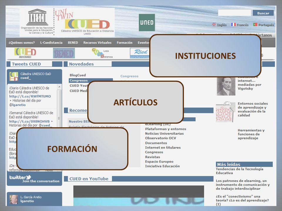 09/02/2012VI Encuentro de Cátedras UNESCO de España FORMACIÓN ARTÍCULOS INSTITUCIONES