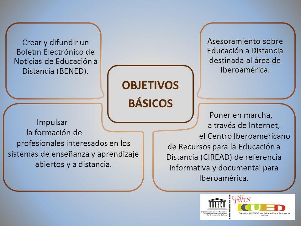 OBJETIVOS BÁSICOS Impulsar la formación de profesionales interesados en los sistemas de enseñanza y aprendizaje abiertos y a distancia. Poner en march