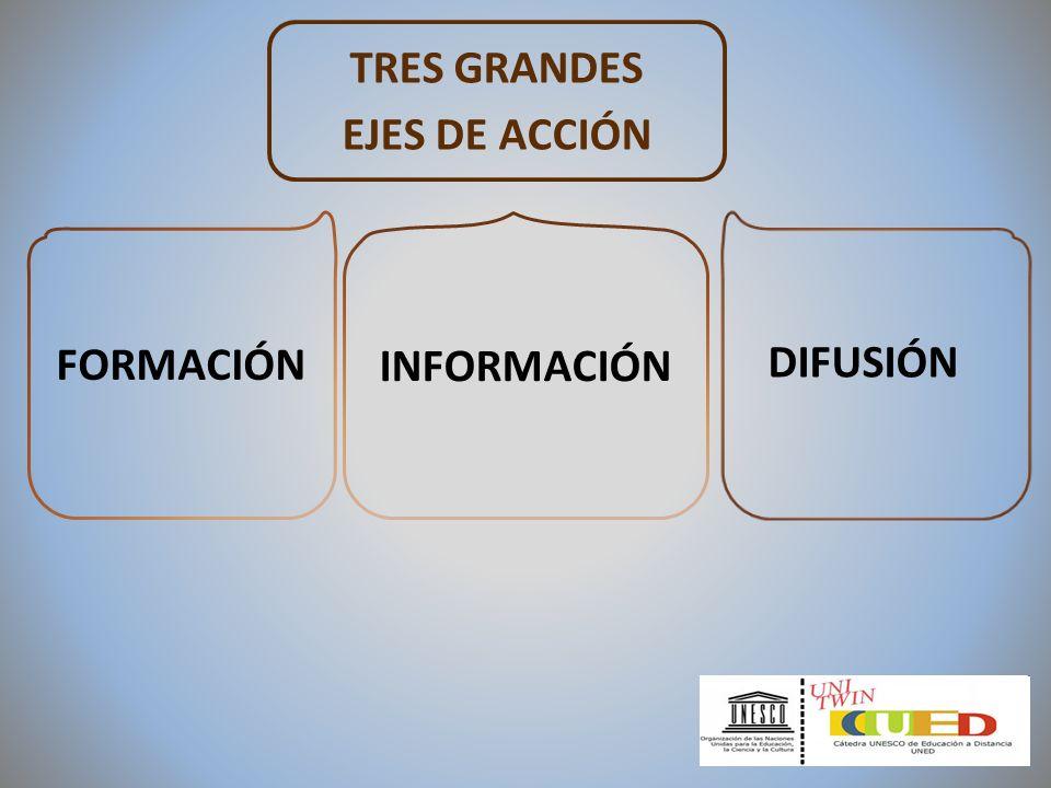 TRES GRANDES EJES DE ACCIÓN INFORMACIÓN FORMACIÓN DIFUSIÓN