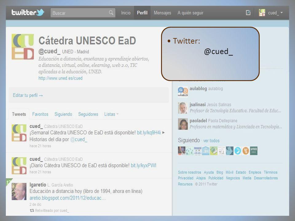 09/02/2012VI Encuentro de Cátedras UNESCO de España Twitter: @cued_