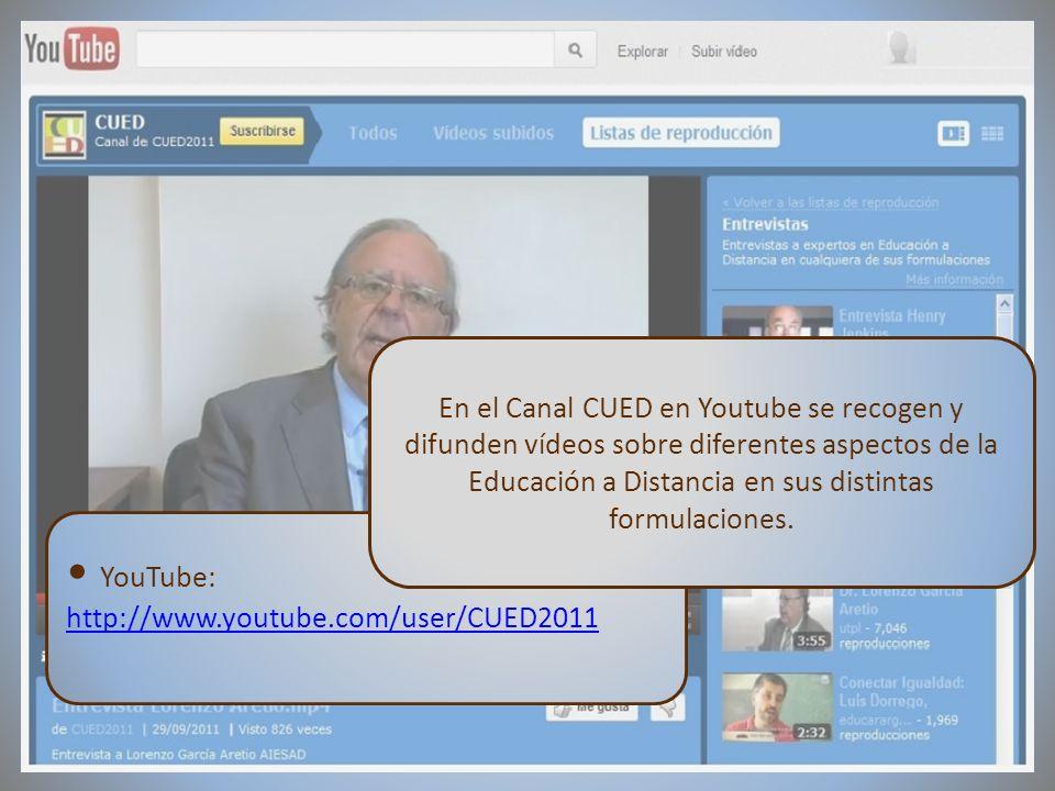 09/02/2012VI Encuentro de Cátedras UNESCO de España YouTube: http://www.youtube.com/user/CUED2011 En el Canal CUED en Youtube se recogen y difunden ví