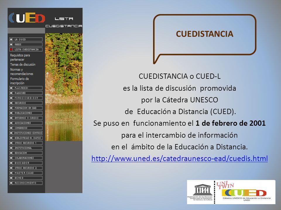 CUEDISTANCIA o CUED-L es la lista de discusión promovida por la Cátedra UNESCO de Educación a Distancia (CUED). Se puso en funcionamiento el 1 de febr