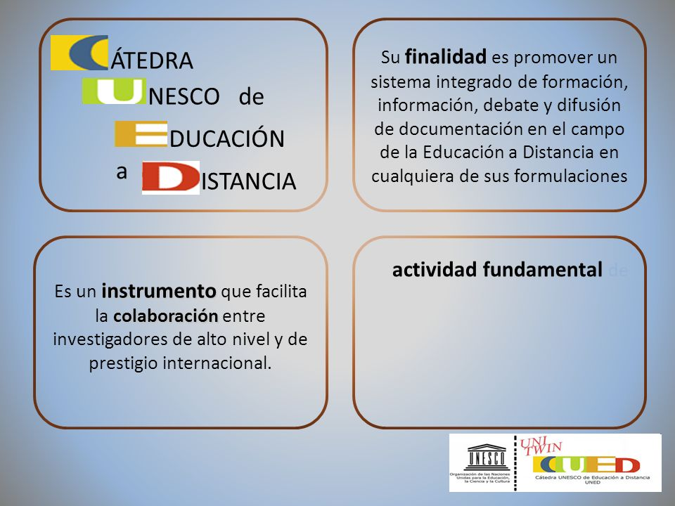 Su finalidad es promover un sistema integrado de formación, información, debate y difusión de documentación en el campo de la Educación a Distancia en cualquiera de sus formulaciones instrumento colaboración Es un instrumento que facilita la colaboración entre investigadores de alto nivel y de prestigio internacional.