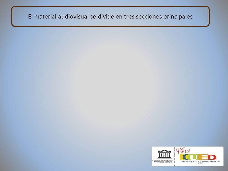 El material audiovisual se divide en tres secciones principales