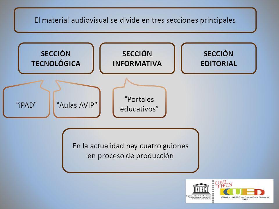 El material audiovisual se divide en tres secciones principales En la actualidad hay cuatro guiones en proceso de producción iPAD Aulas AVIP Portales