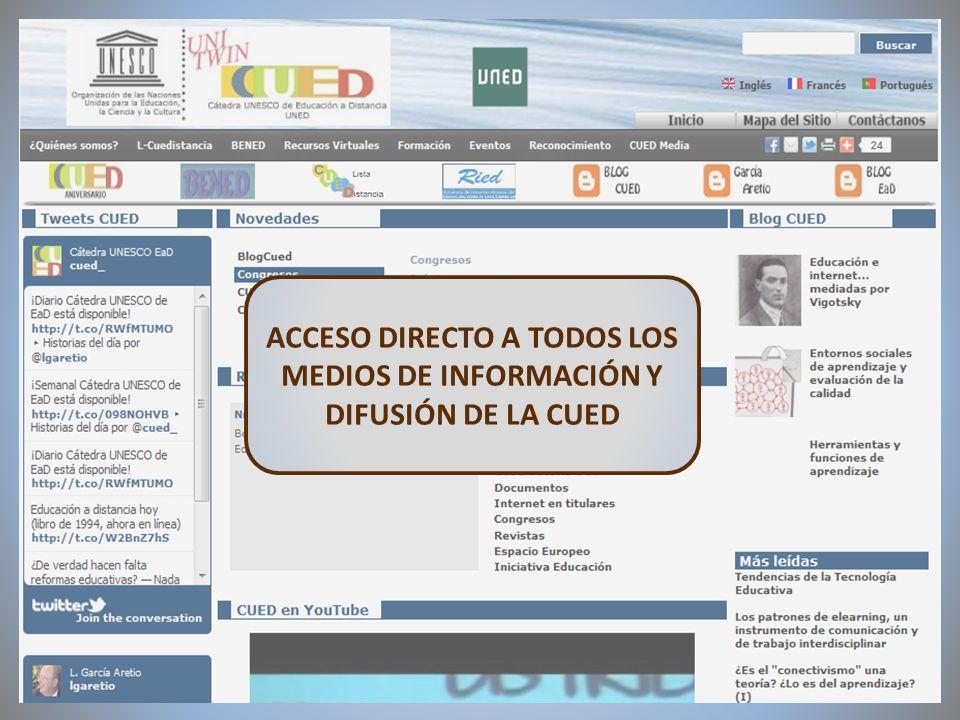 09/02/2012VI Encuentro de Cátedras UNESCO de España ACCESO DIRECTO A TODOS LOS MEDIOS DE INFORMACIÓN Y DIFUSIÓN DE LA CUED