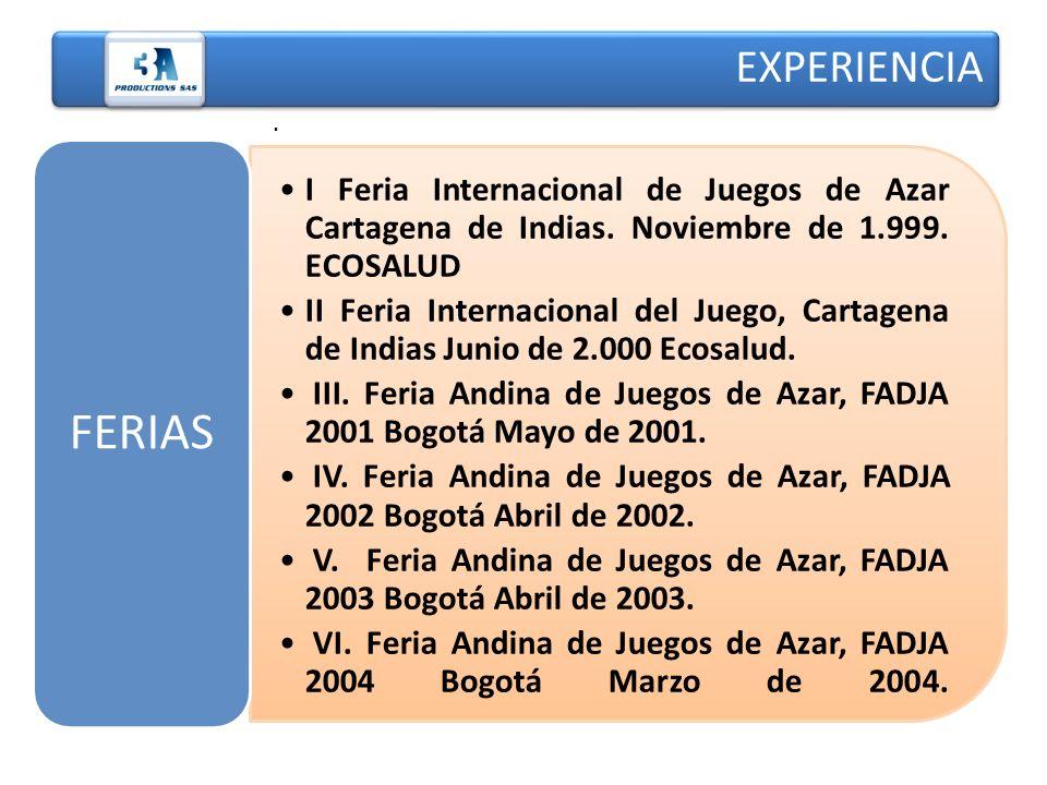 I Feria Internacional de Juegos de Azar Cartagena de Indias. Noviembre de 1.999. ECOSALUD II Feria Internacional del Juego, Cartagena de Indias Junio