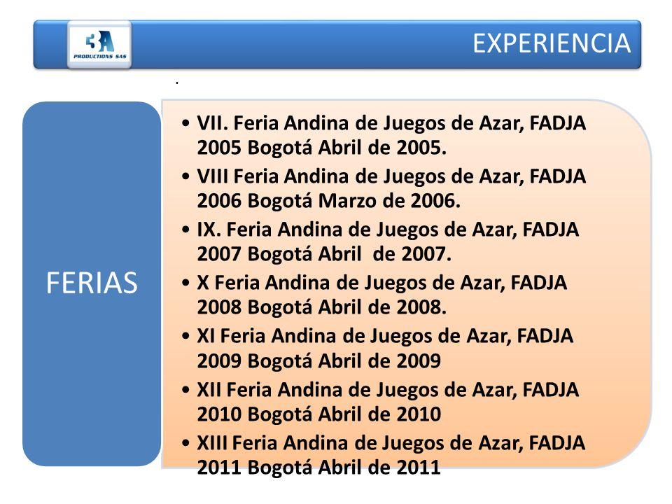 . VII. Feria Andina de Juegos de Azar, FADJA 2005 Bogotá Abril de 2005. VIII Feria Andina de Juegos de Azar, FADJA 2006 Bogotá Marzo de 2006. IX. Feri