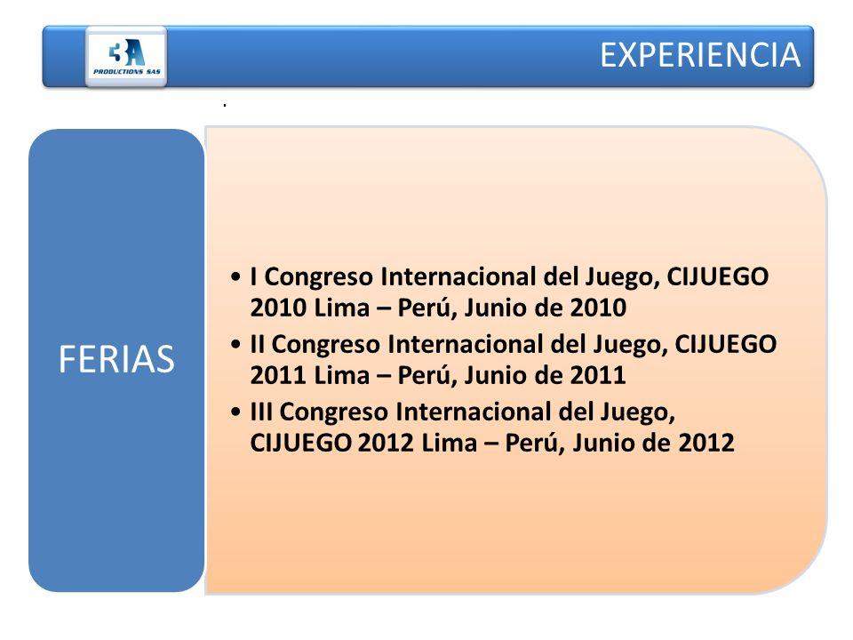 EXPERIENCIA. I Congreso Internacional del Juego, CIJUEGO 2010 Lima – Perú, Junio de 2010 II Congreso Internacional del Juego, CIJUEGO 2011 Lima – Perú