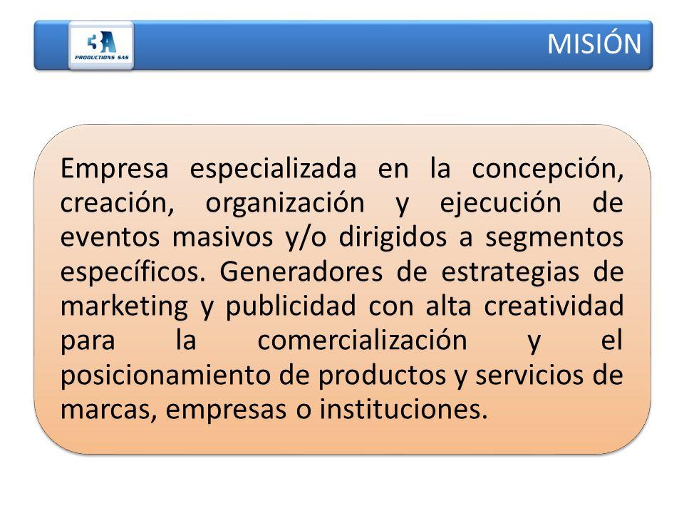 Empresa especializada en la concepción, creación, organización y ejecución de eventos masivos y/o dirigidos a segmentos específicos. Generadores de es
