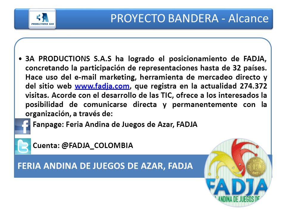 PROYECTO BANDERA - Alcance 3A PRODUCTIONS S.A.S ha logrado el posicionamiento de FADJA, concretando la participación de representaciones hasta de 32 p