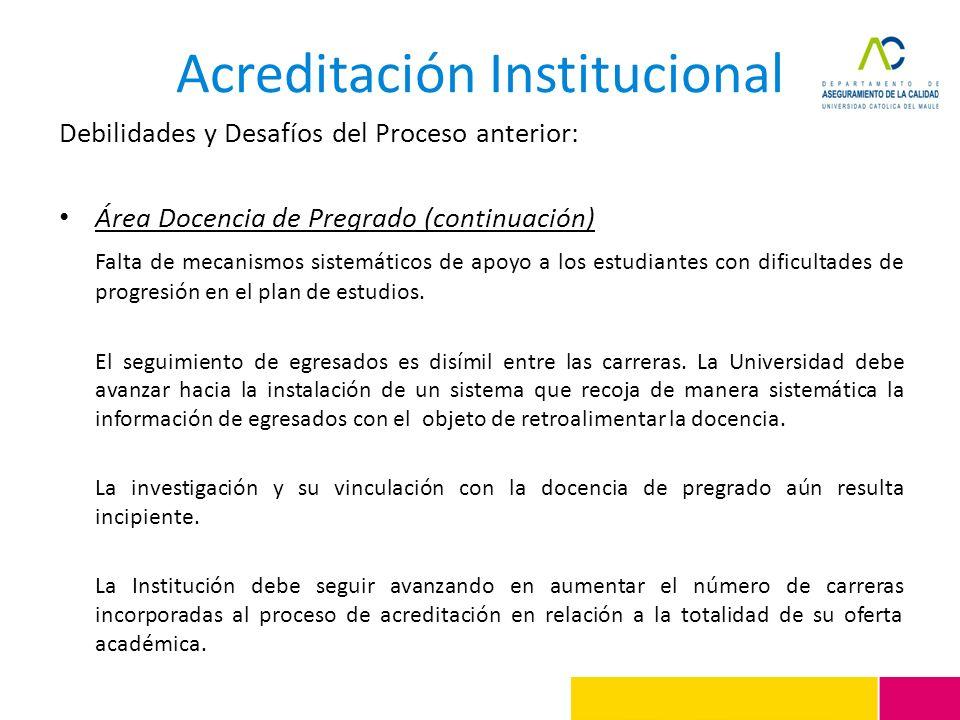 Acreditación Institucional Debilidades y Desafíos del Proceso anterior: Área Docencia de Pregrado (continuación) Falta de mecanismos sistemáticos de a