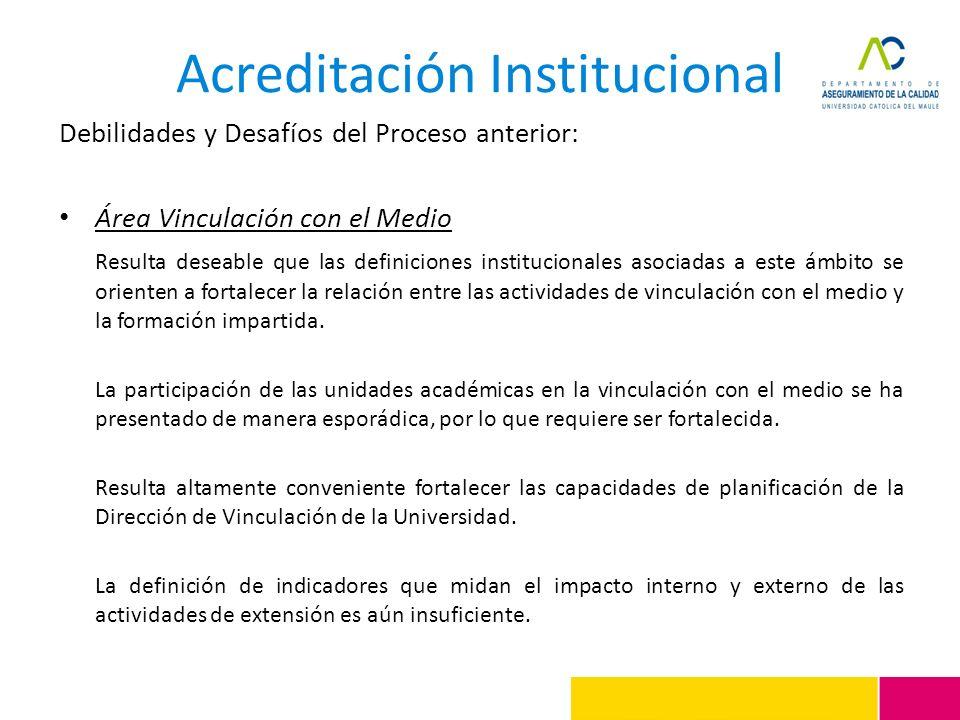 Acreditación Institucional Debilidades y Desafíos del Proceso anterior: Área Vinculación con el Medio Resulta deseable que las definiciones institucio