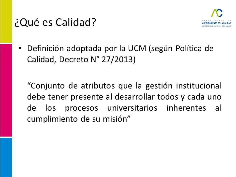 ¿Qué es Calidad? Definición adoptada por la UCM (según Política de Calidad, Decreto N° 27/2013) Conjunto de atributos que la gestión institucional deb