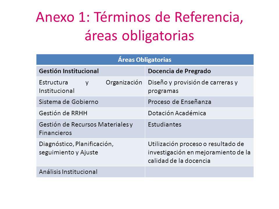 Anexo 1: Términos de Referencia, áreas obligatorias Áreas Obligatorias Gestión InstitucionalDocencia de Pregrado Estructura y Organización Institucion
