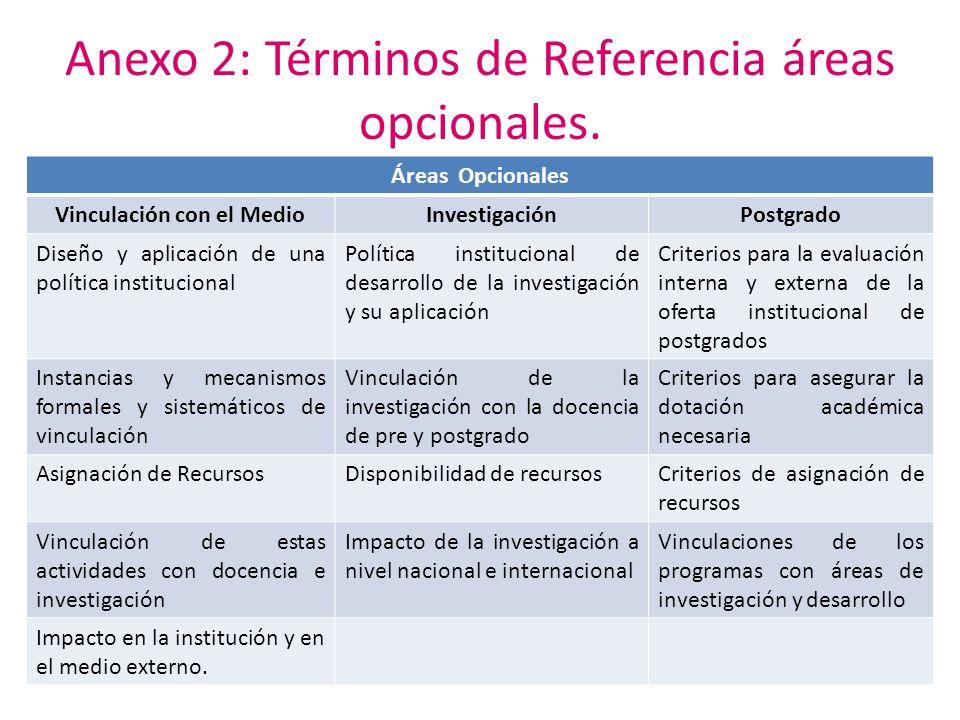 Anexo 2: Términos de Referencia áreas opcionales. Áreas Opcionales Vinculación con el MedioInvestigaciónPostgrado Diseño y aplicación de una política
