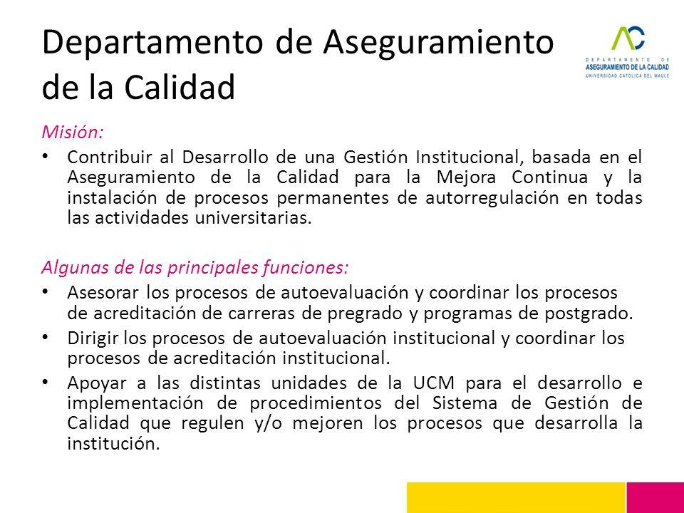 Departamento de Aseguramiento de la Calidad Misión: Contribuir al Desarrollo de una Gestión Institucional, basada en el Aseguramiento de la Calidad pa