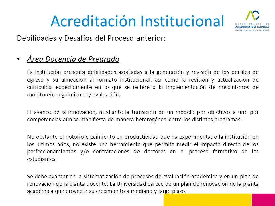 Acreditación Institucional Debilidades y Desafíos del Proceso anterior: Área Docencia de Pregrado La Institución presenta debilidades asociadas a la g