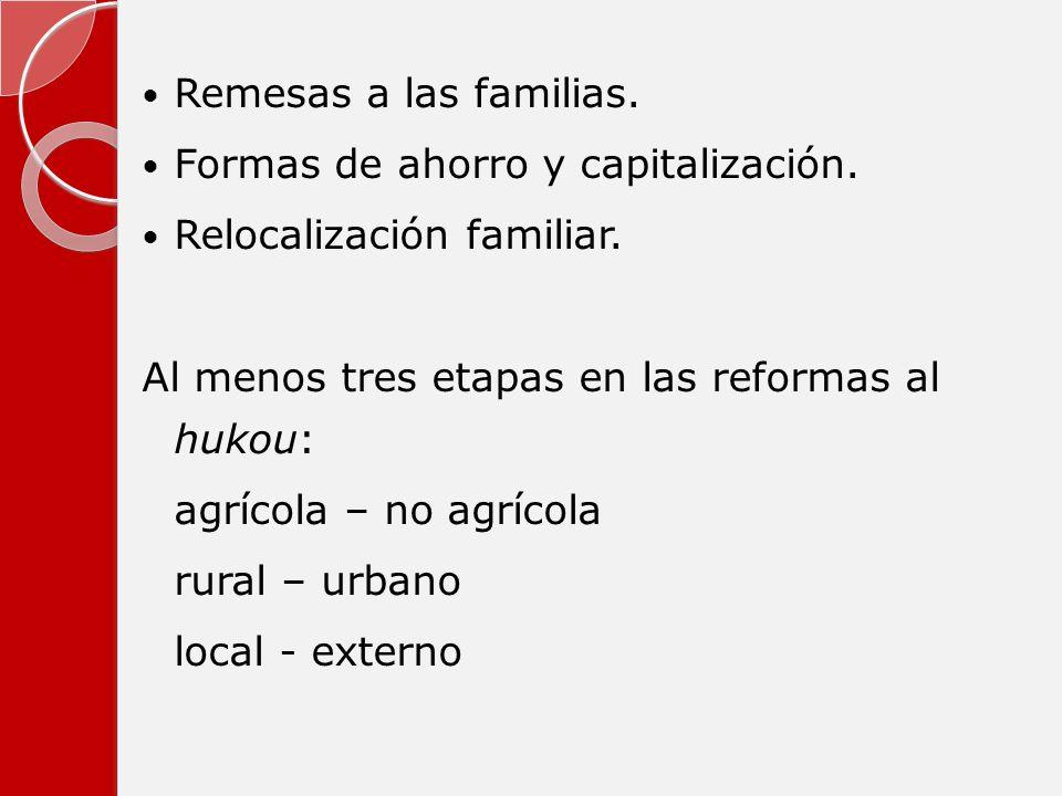 Remesas a las familias. Formas de ahorro y capitalización. Relocalización familiar. Al menos tres etapas en las reformas al hukou: agrícola – no agríc