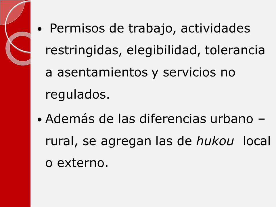 Permisos de trabajo, actividades restringidas, elegibilidad, tolerancia a asentamientos y servicios no regulados. Además de las diferencias urbano – r