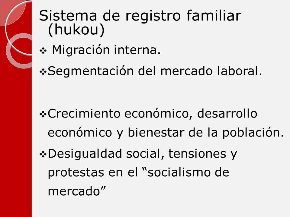 Sistema de registro familiar (hukou) Migración interna. Segmentación del mercado laboral. Crecimiento económico, desarrollo económico y bienestar de l