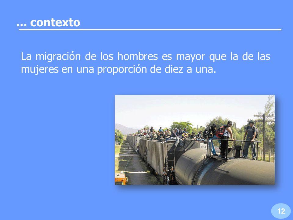 La migración ha feminiza- do las actividades producti- vas en el campo. 13... contexto