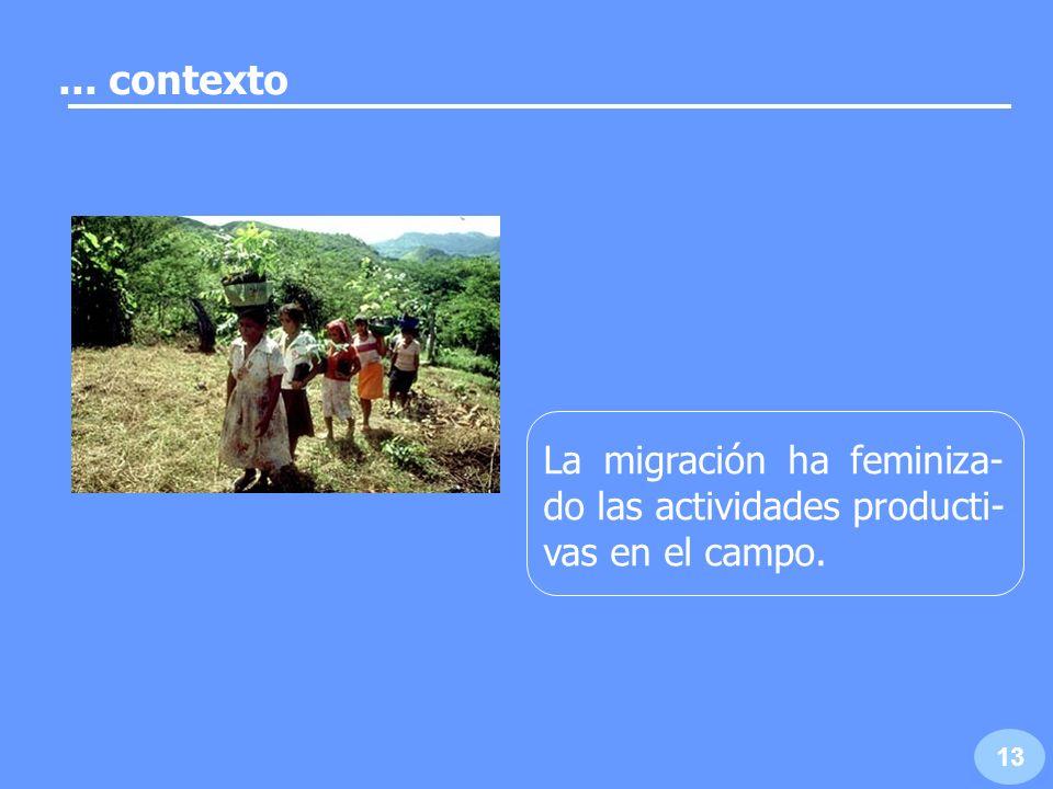 A nivel nacional, el 47% de sucesores de derechos agrarios son mujeres. 14... contexto