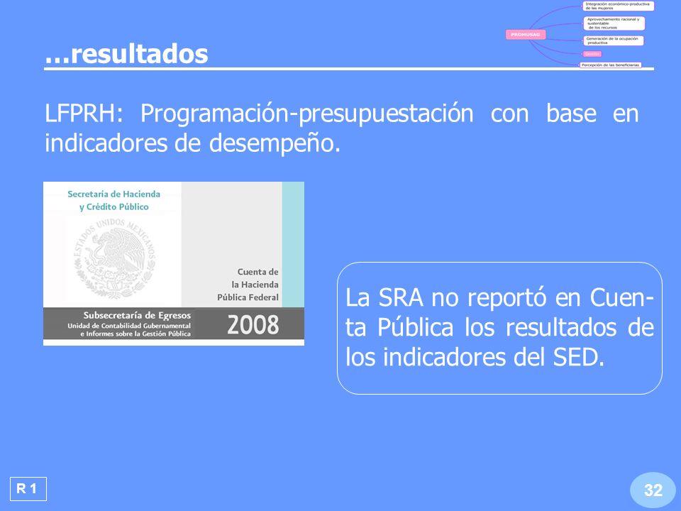 R 2 La SRA no publicó la evaluación externa del PROMUSAG 2008 ni la información general re- querida.