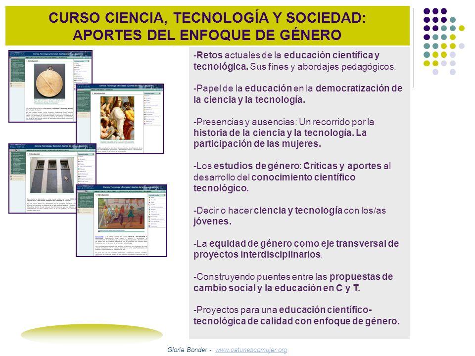 CURSO CIENCIA, TECNOLOGÍA Y SOCIEDAD: APORTES DEL ENFOQUE DE GÉNERO 2004-2006 Portal Educativo de las Américas – OEA 120 Participantes 2007- 2008 Plataforma de la Consellería de Educación e Ordenación Universitaria da Xunta de Galicia.