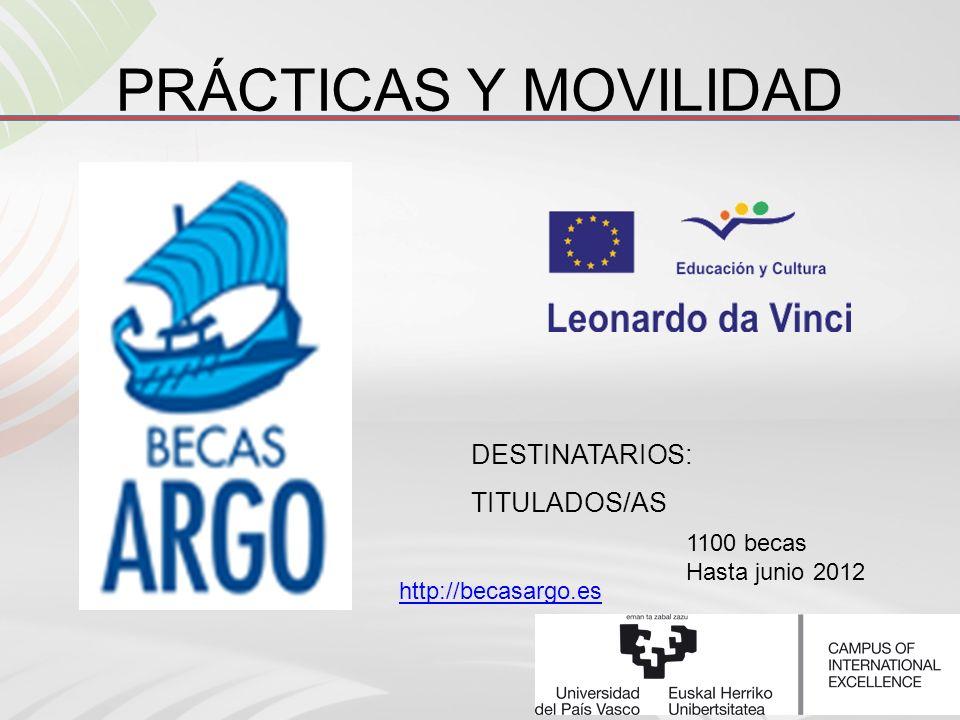 DESTINATARIOS: TITULADOS/AS PRÁCTICAS Y MOVILIDAD http://becasargo.es 1100 becas Hasta junio 2012