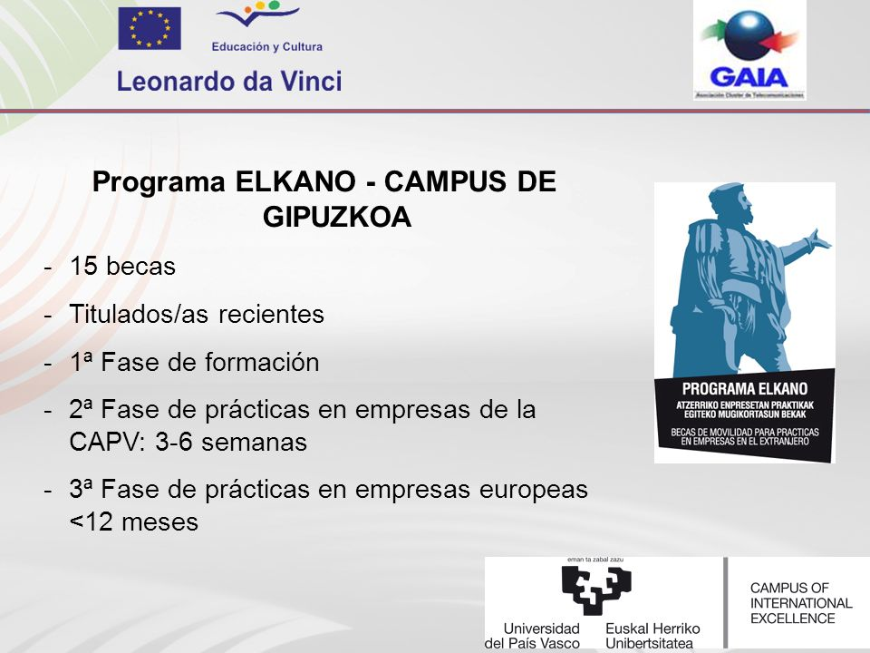 Programa ELKANO - CAMPUS DE GIPUZKOA -15 becas -Titulados/as recientes -1ª Fase de formación -2ª Fase de prácticas en empresas de la CAPV: 3-6 semanas -3ª Fase de prácticas en empresas europeas <12 meses